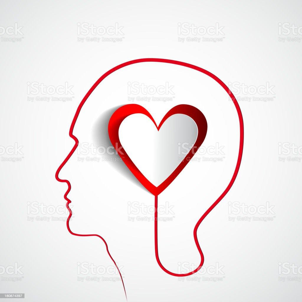 Idée De Photo De Profil tête humaine profil avec cœur vecteurs libres de droits et