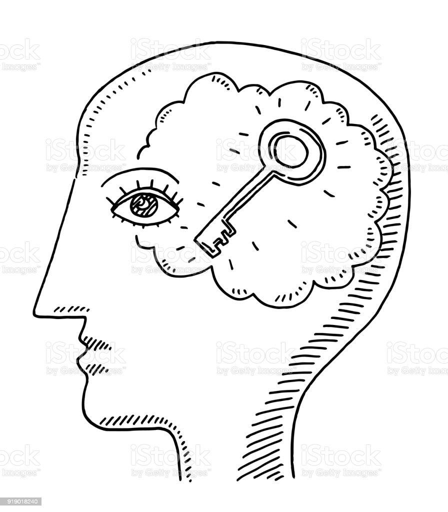 Human Head Side View Mind Key Drawing vector art illustration