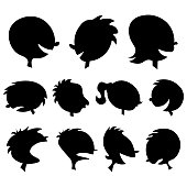 Vector illustration of a collection of human head silhouettes.