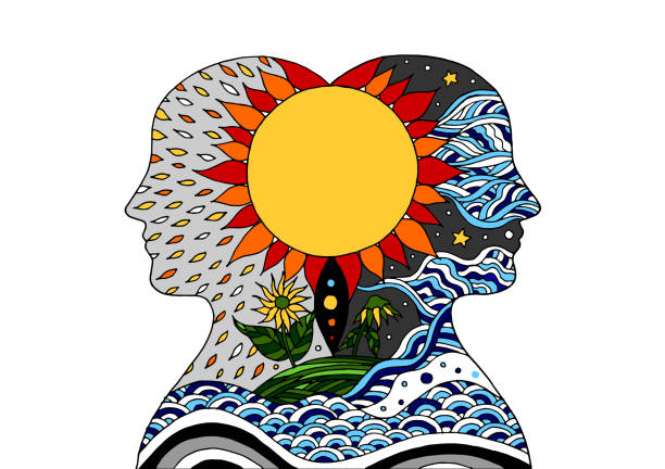 bildbanksillustrationer, clip art samt tecknat material och ikoner med head människaanden energi ansluta till universum vektor abstrakt konst illustration design handen dras - earth from space