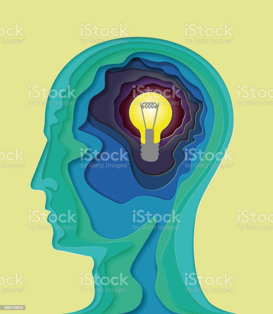 Human head - vector illustration in the style of material design for presentation, booklet, website and other design projects. Advertising models. Volumetric multilayered abstract curved shape of the human brain with a light bulb, symbolizes the idea. vector art illustration