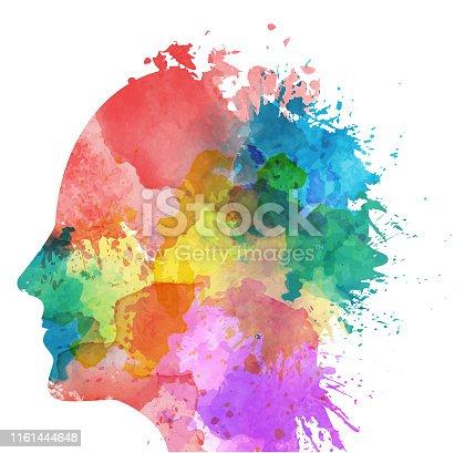 Human head - watercolor paints