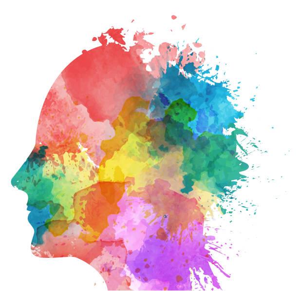 인간의 머리 - 수채화 페인트 벡터 아트 일러스트