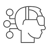 Human head wearing virtual reality glasses thin line icon, smart home symbol, technology vector sign on white background, virtual reality headset, android with connections icon outline. Vector