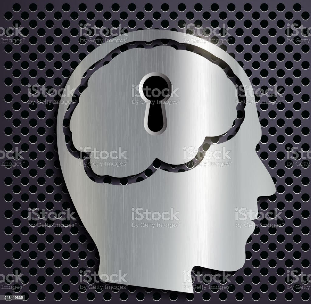 human head with a keyhole vector art illustration