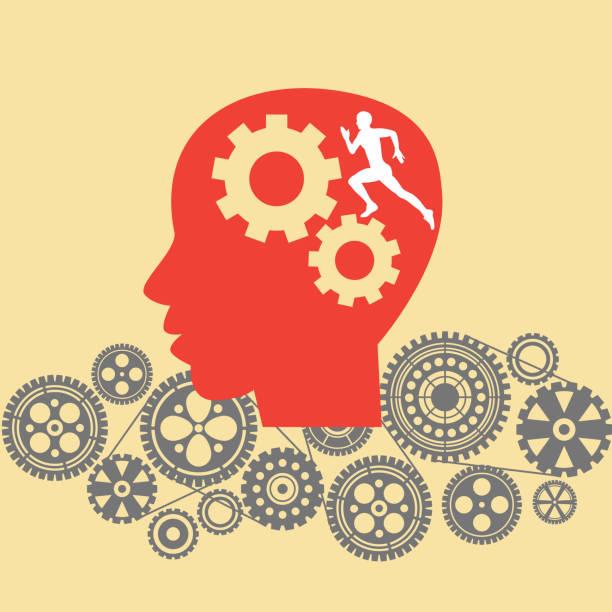 ilustrações de stock, clip art, desenhos animados e ícones de human head with cogs and gears. - active brain