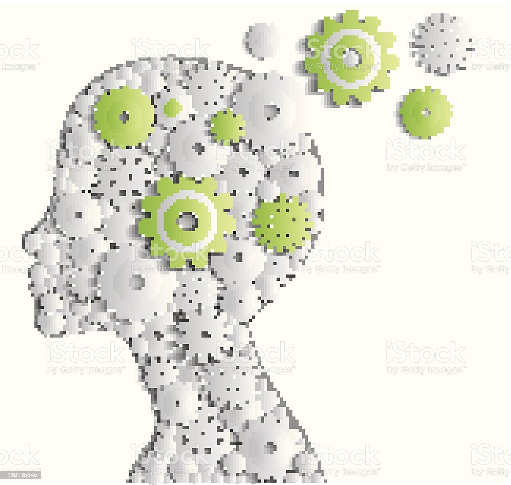 Human head with cogs vector art illustration