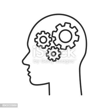 istock Human head with cogwheels inside icon 890003888