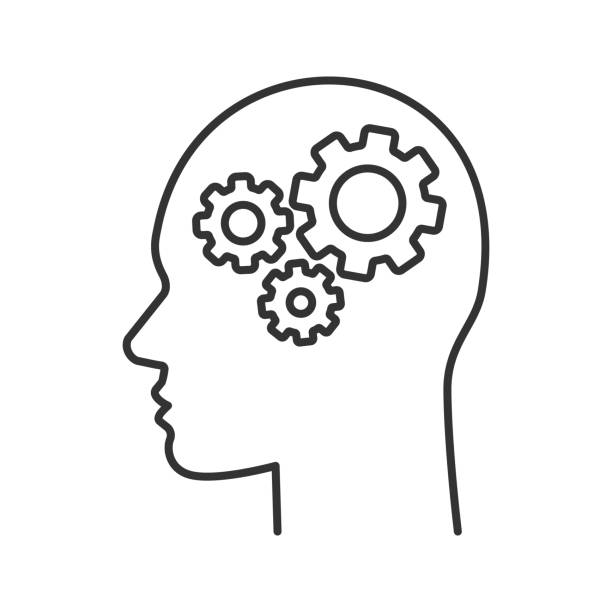 Human head with cogwheels inside icon Human head with cogwheels inside linear vector icon. Thin line. Artificial intelligence human head stock illustrations