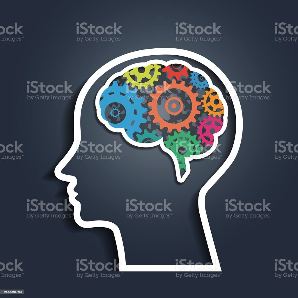 Human head with colorful gears vector art illustration