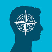 Human head with compass rose sign in silhouette
