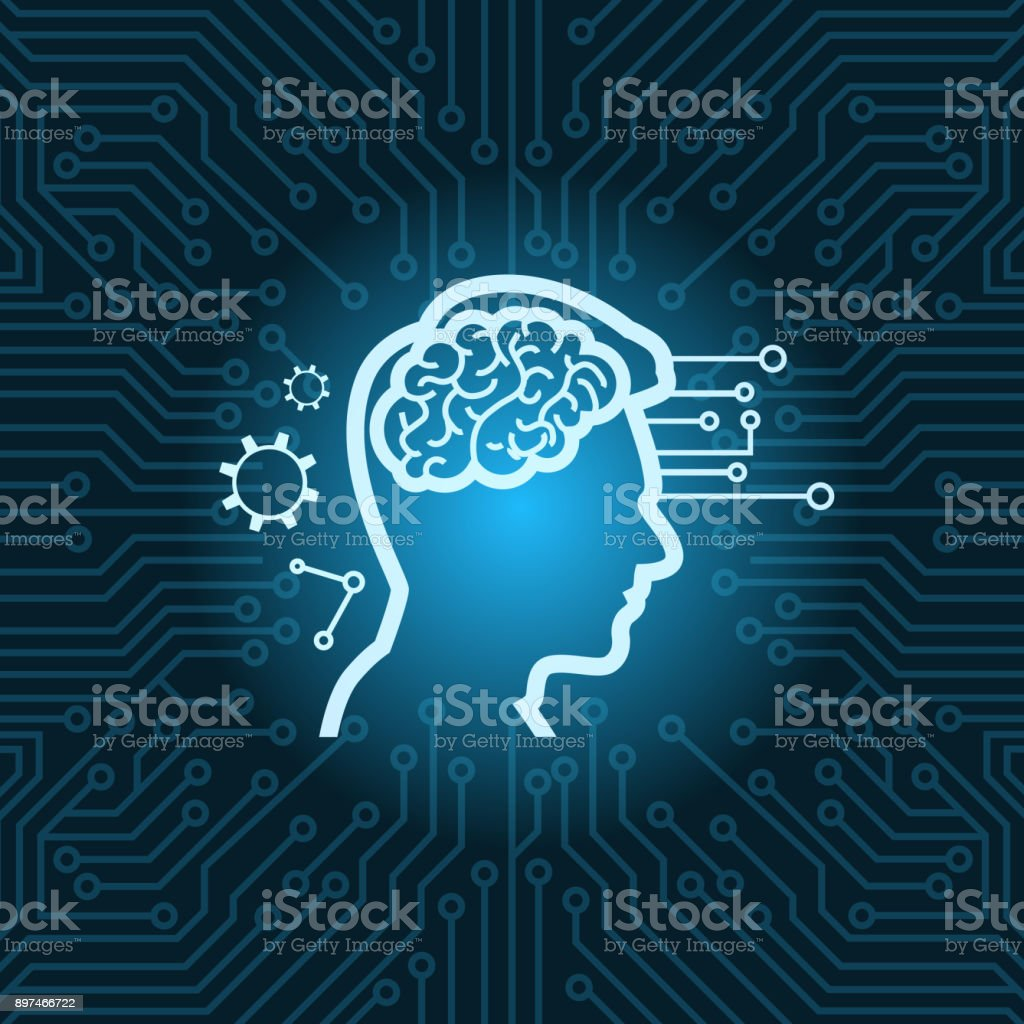 Human Head With Digital Brain Icon Over Blue Circuit Motherboard ...