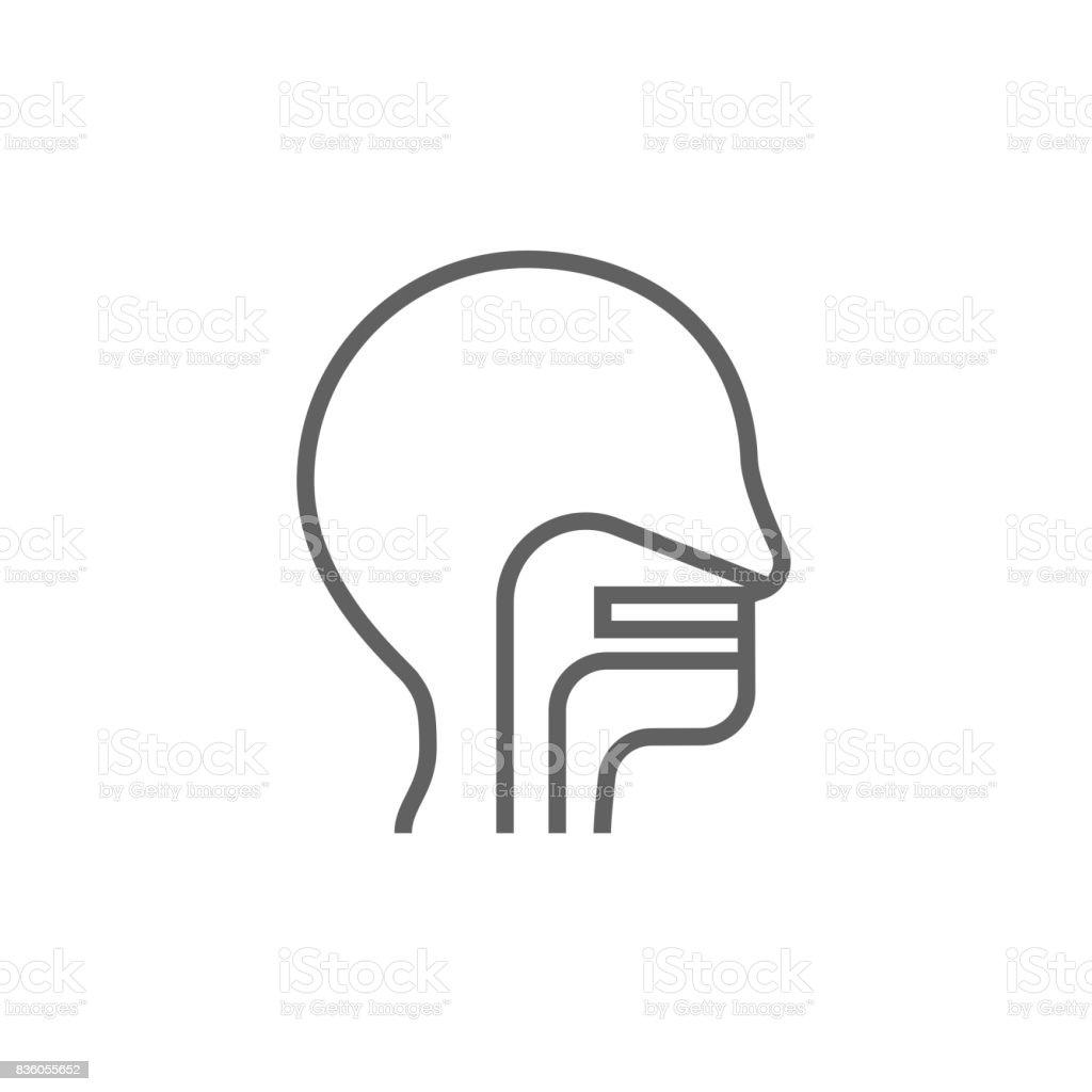 Menschlicher Kopf Nase Ohr Und Halslinieicon Stock Vektor Art und ...