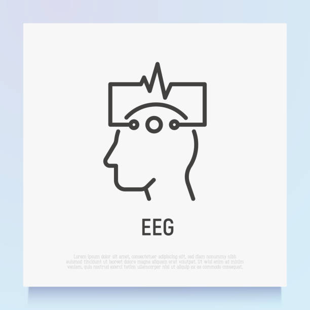 EEG: human head with electrodes thin line icon. Medical research. Diagnostic of brain activity. Modern vector illustration. EEG: human head with electrodes thin line icon. Medical research. Diagnostic of brain activity. Modern vector illustration. neuroscience patient stock illustrations