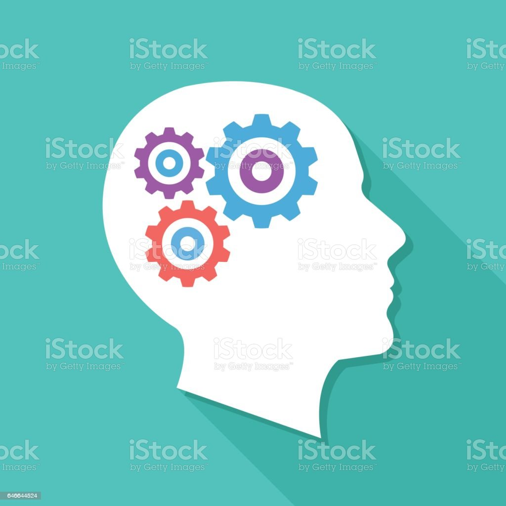 Human head with gears and cogs. Thinking process, idea generation, brain functioning. Modern flat design vector illustration vector art illustration