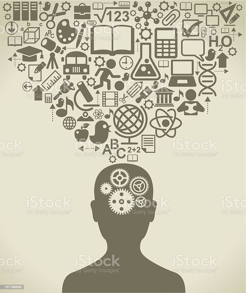 Human head with gears and objects of science royalty-free stock vector art