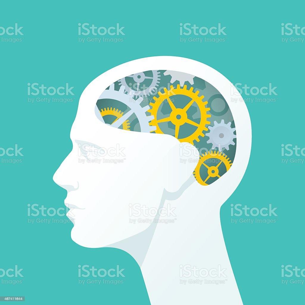 Cabeza humana con engranajes. Pensar. ilustración de cabeza humana con engranajes pensar y más vectores libres de derechos de 2015 libre de derechos