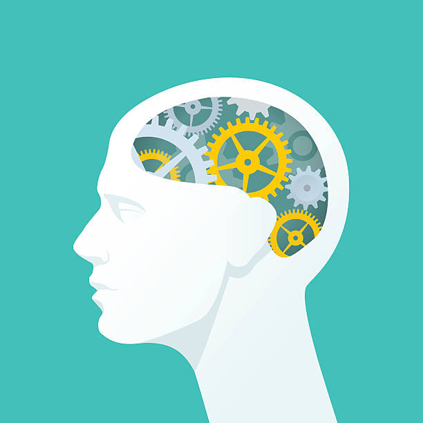 Human head with gears. Thinking. Flat illustration of human head. The concept of functioning of the human brain. human head stock illustrations