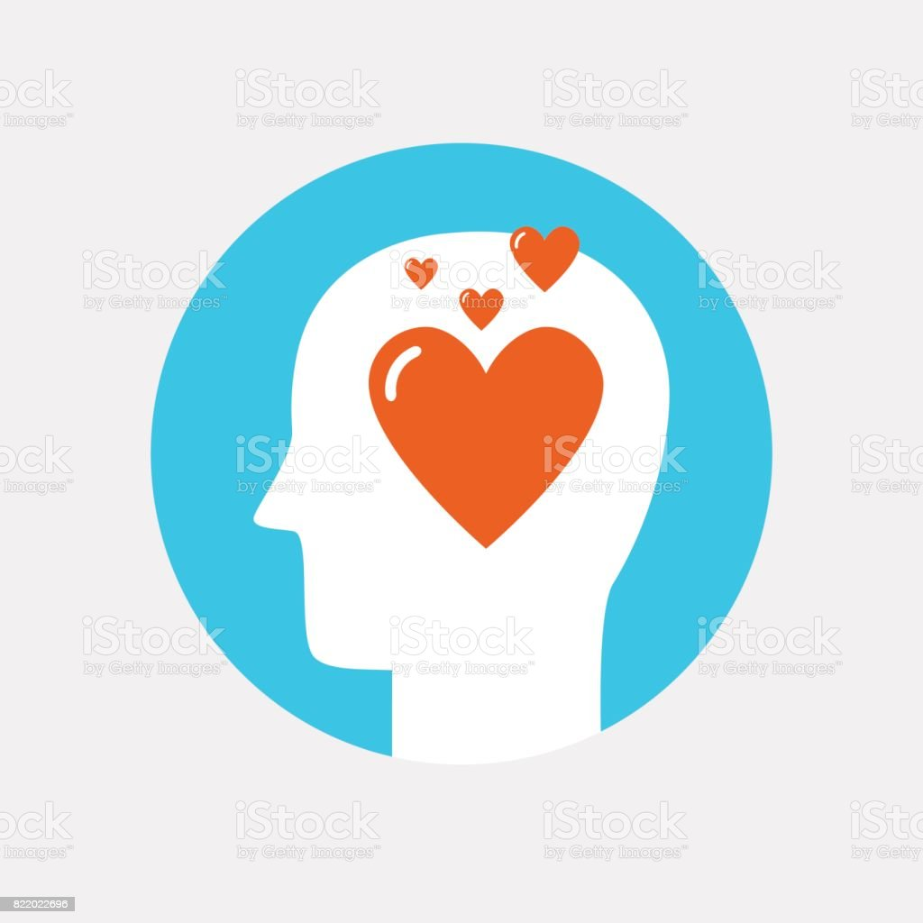 Human head with heart icon ,love concept flat style vector art illustration
