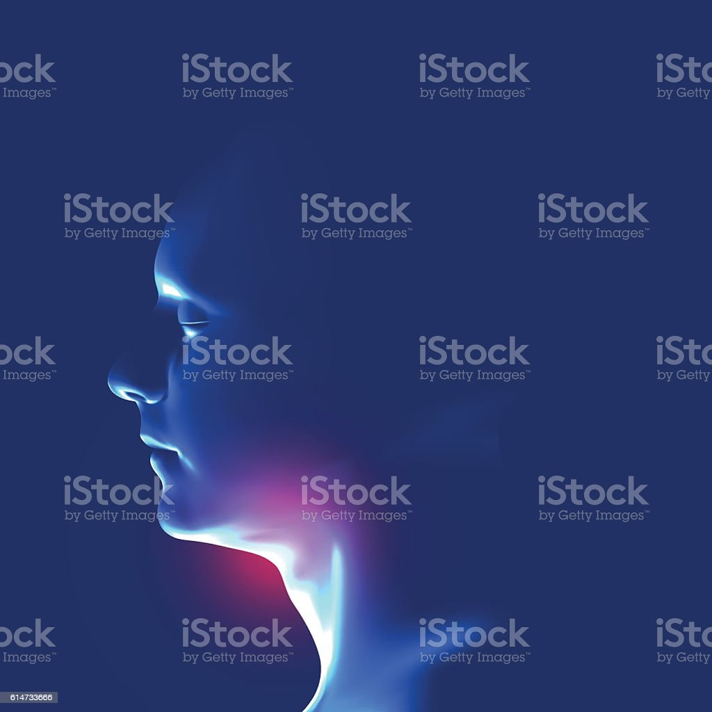 Human head with inflammation of the throat. vector art illustration