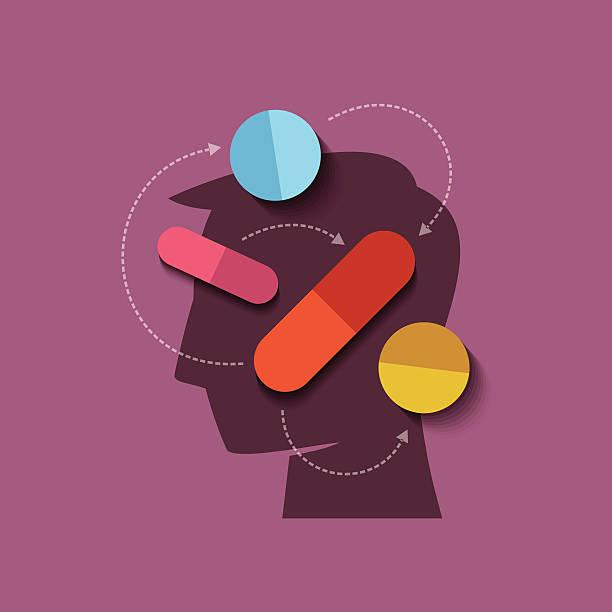 human head with medicine vector art illustration