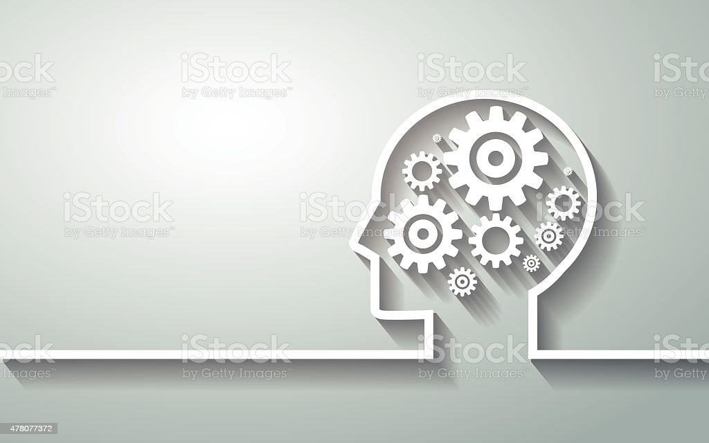 Human head with set of gears and human brain vector art illustration