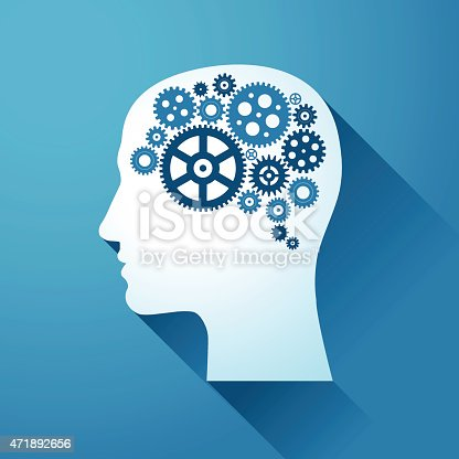 Human Brain with Gears. Conceptual image of the human brain.