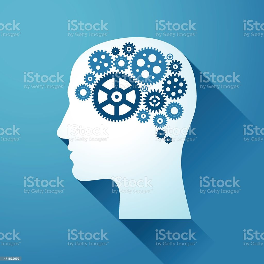 Human head with set of gears on his Brain vector art illustration