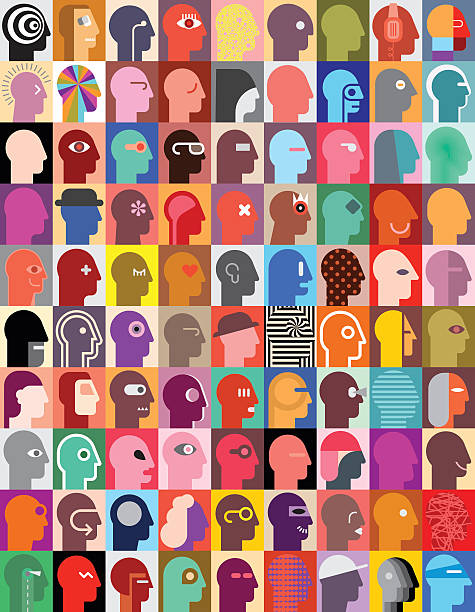 Human Heads Large set of various human head images. Vector graphic design. Can be used as seamless wallpaper. modern art stock illustrations