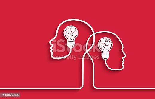 Two human heads with light bulbs and machinery gears representing the concept of Intelligence, brainstorming and progress.