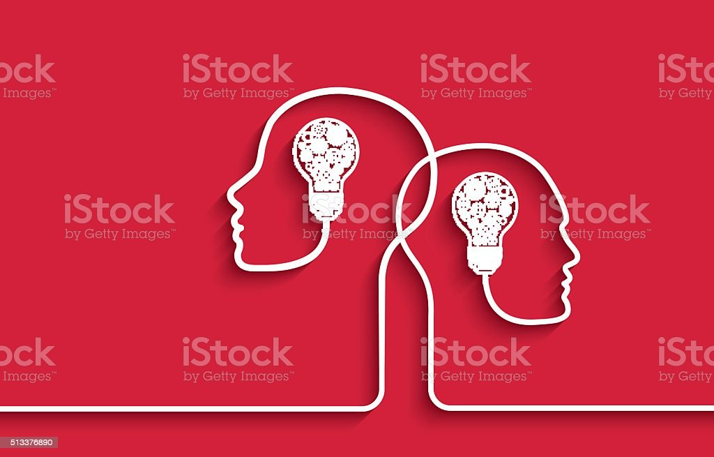 Human heads with light bulbs and gears on red background vector art illustration