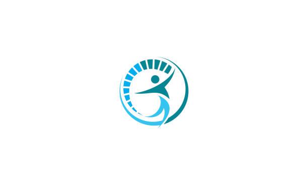 illustrazioni stock, clip art, cartoni animati e icone di tendenza di human health body logo icon vector - fisioterapia