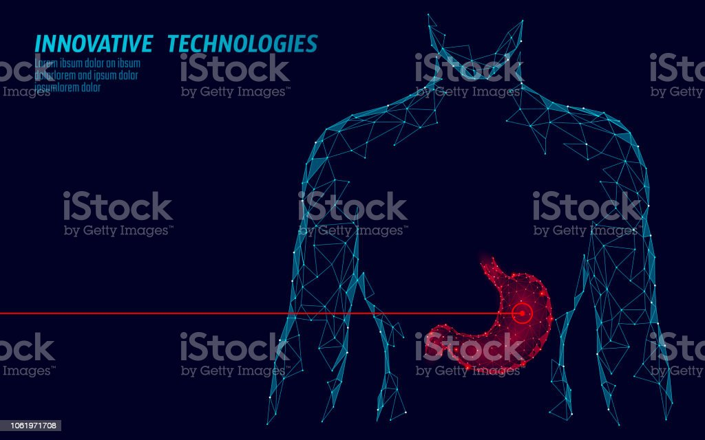 Human healthy medicine drug treatment stomach. Internal digestion organ. Low poly connected dots gray white triangle future technology design background vector medicine illustration royalty-free human healthy medicine drug treatment stomach internal digestion organ low poly connected dots gray white triangle future technology design background vector medicine illustration stock illustration - download image now
