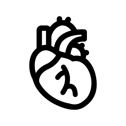 Human heart icon, black version