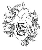 Human heart illustration with flowers.
