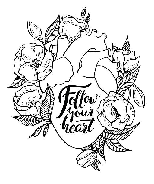 Human heart illustration with flowers. Human heart illustration with flowers and quote lettering. Great for valentine card or poster wild rose stock illustrations