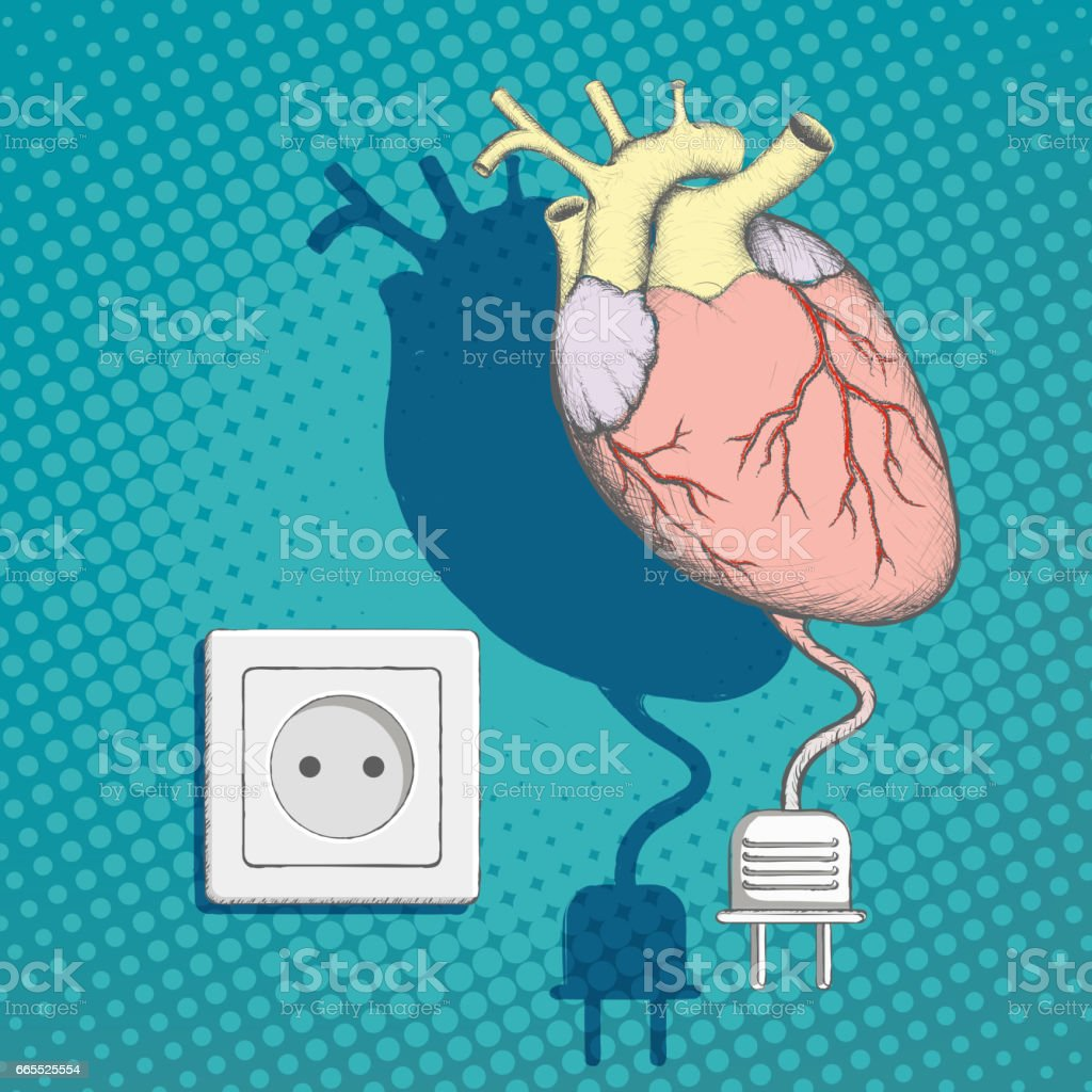 Human heart with an electric plug and socket. vector art illustration