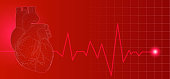 3D wireframe red human heart illustration on dark background with heart rate pulse beat