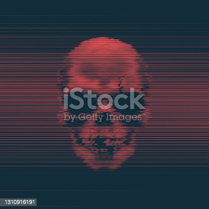 Human Horror Skull Blue And Red Digital Glitch Art Concept Of Internet Virus Abstract Vector Background