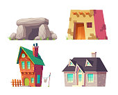 Human homes from prehistoric to modern time cartoon vector set isolated on white. Cave, ancient flat roof house, rural hat with brick walls and tile roof, modern cottage, mansion building illustration