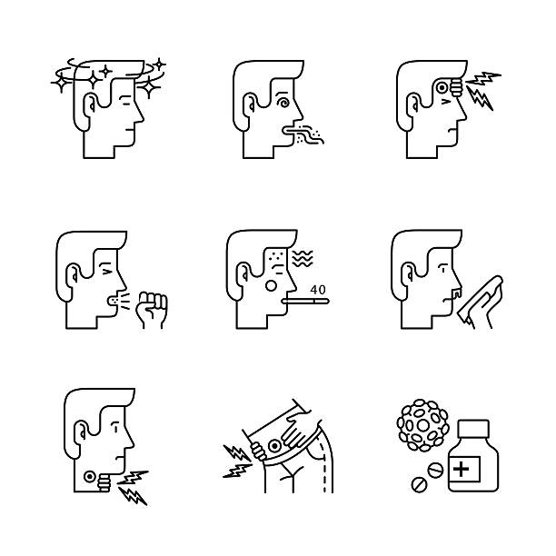 Human illness and diseases symptoms signs set Human illness and diseases symptoms signs set. Ill man avatars. Thin line art icons. Linear style illustrations isolated on white. sore throat stock illustrations