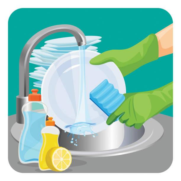 ilustrações de stock, clip art, desenhos animados e ícones de human in rubber protective gloves dishwashing plate with a sponge - loiça
