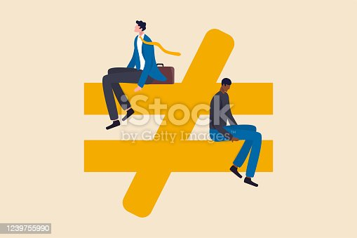 istock Human inequality and injustice, discrimination and racism as global social issue concept, upper class business man sitting on top of injustice, unfairness symbol with person of color at the bottom. 1239755990