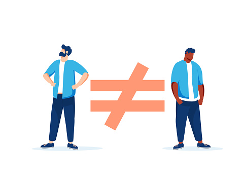 Human inequality and injustice, discrimination and racism as global social issue concept, upper class business man sitting on top of injustice, unfairness symbol with person of color at the bottom.