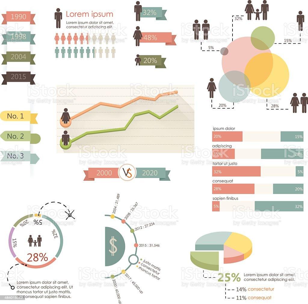 Infographie illustration vectorielle de l'homme. Graphique d'informations - Illustration vectorielle