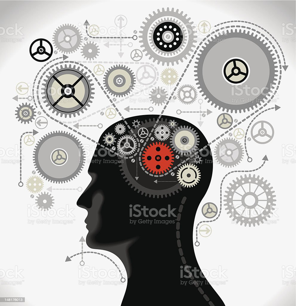 Human intelligence concept with head and gears vector art illustration