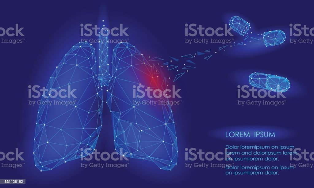 Human Internal Organ Lungs Medicine Treatment Drug. Low Poly technology design. Red injury pain area polygonal triangle connected dots. Health medicine icon background vector illustration vector art illustration