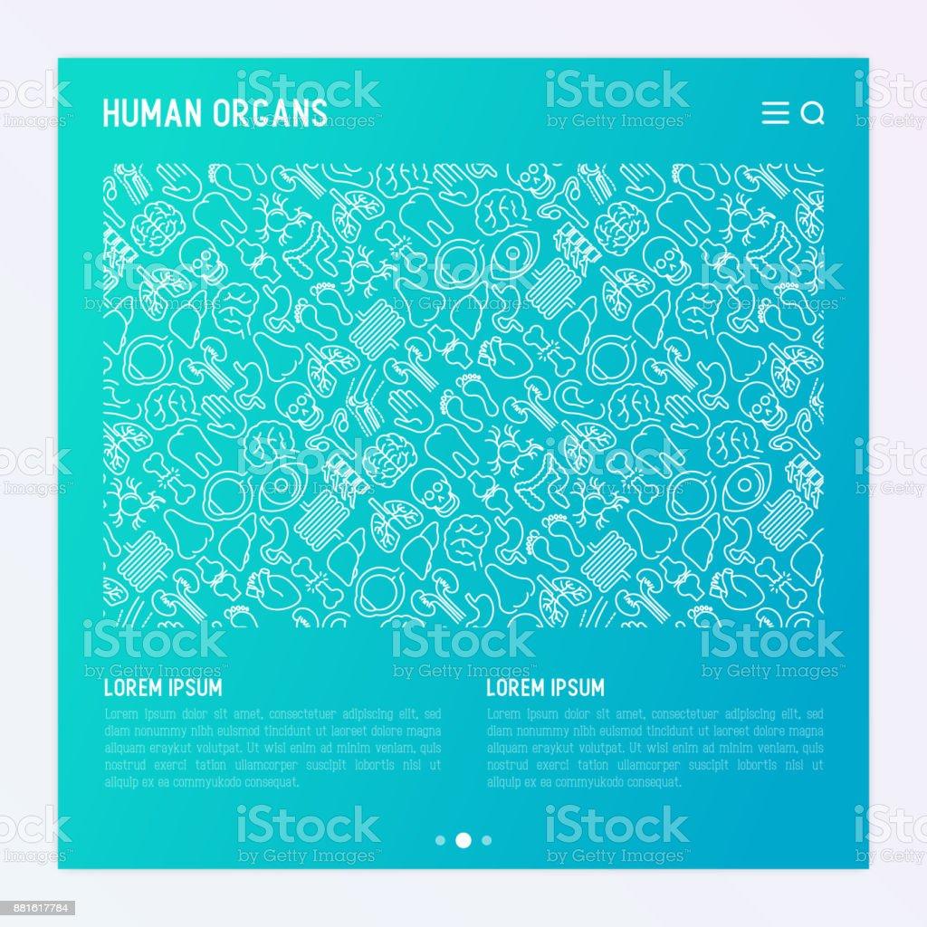 Menschliche Organe Konzept Mit Dünne Linie Symbole ...