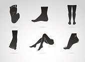 Human leg, foot vector icon isolated on white background.