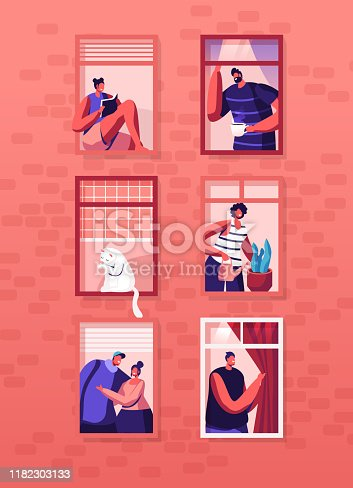 Human Life Concept. Outer Wall of House with Different People and Cat at Windows. Happy Men and Women Look Out of Apartments Drink Tea, Hugging, Watering Plant, Read. Cartoon Flat Vector Illustration